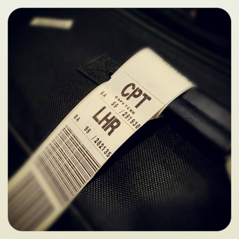 Luggage tag from Heathrow to Cape Town