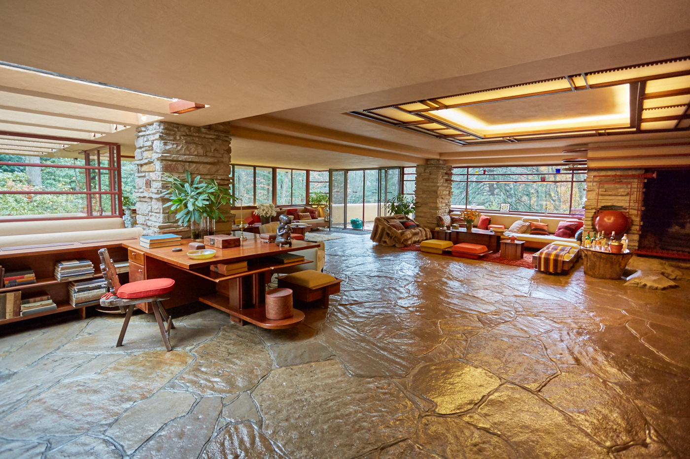 Main living space at Fallingwater