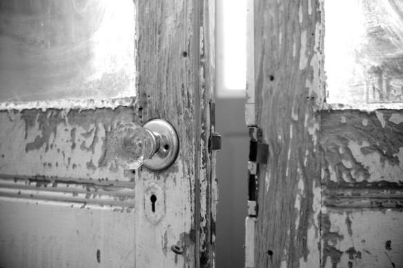 Front door in derelict house   (c) Allyson Scott