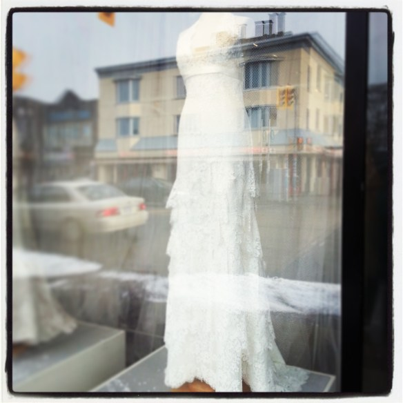 Window of bridal salon where I bought my dress