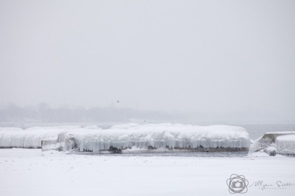 Frozen breakwater on Lake Ontario, Toronto