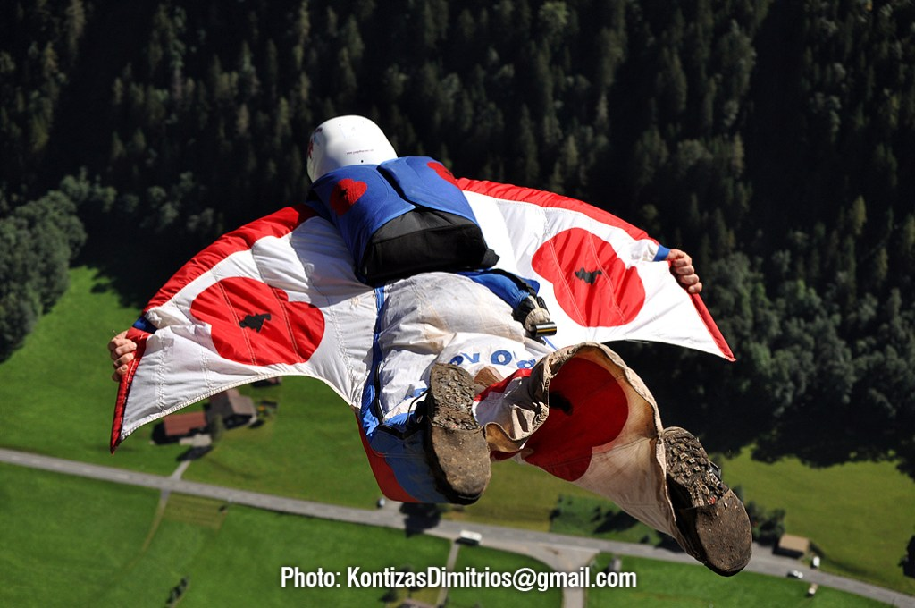 Alastair Macartney flies his wingsuit in Switzerland.