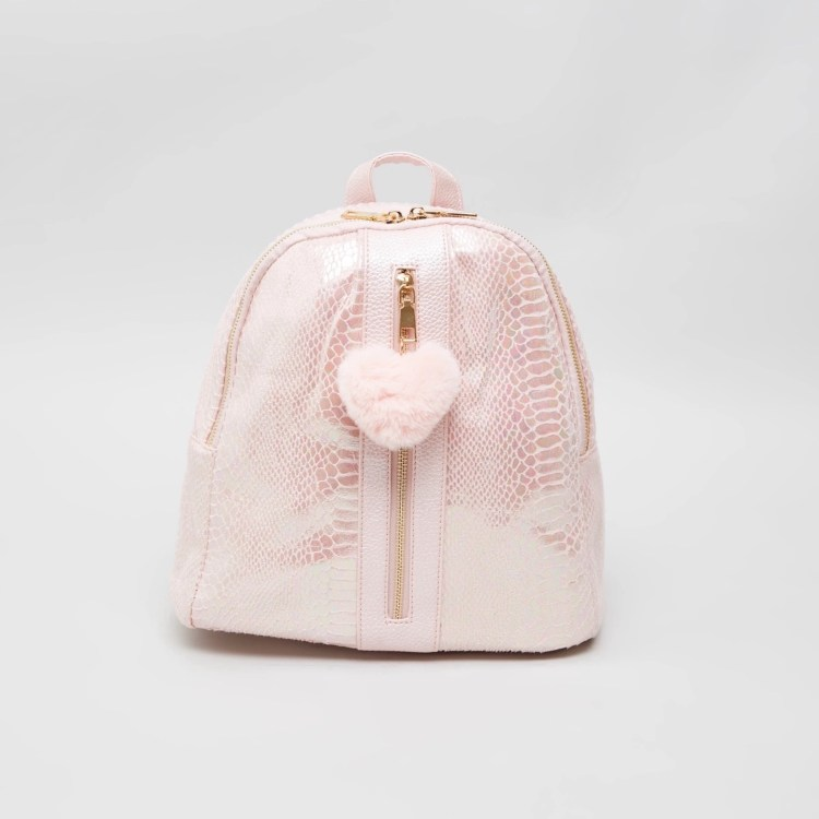 LIFESTYLE STORES_Glitter Textured Backpack with Heart-Shaped Charm 80aed@LIFESTYLE STORES