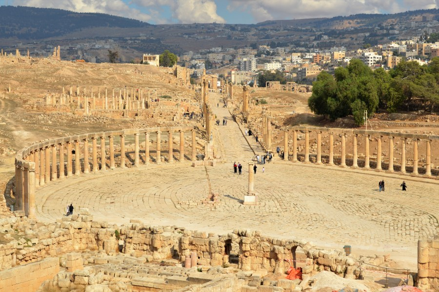The ruins of the ancient Greco-Roman city of Jerash.