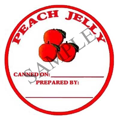 Peach Jelly Round Canning Label #L137