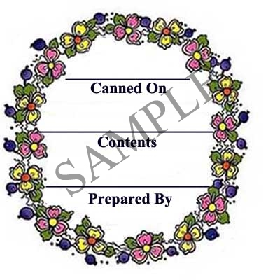 Berries and Flowers Round Canning Label #L200
