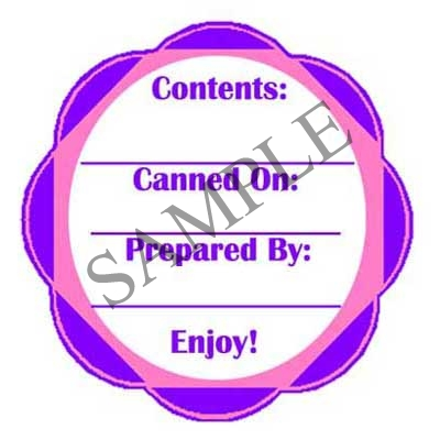 Purple-Blue Scallop Round Canning Label #L236