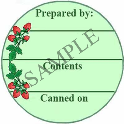Strawberry Circle Round Canning Label #L285