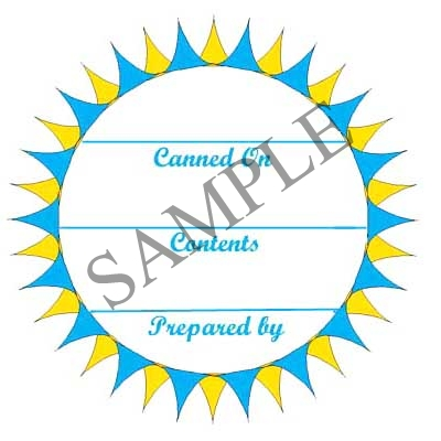 Colorful Star-burst Round Canning Label #L288