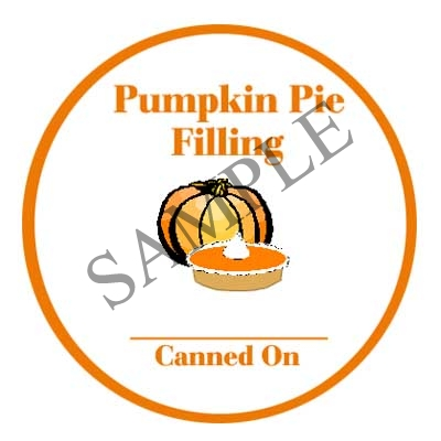Pumpkin Pie Filling Round Canning Label #L321