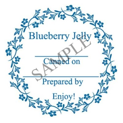 Blueberry Jelly Round Canning Label #L340