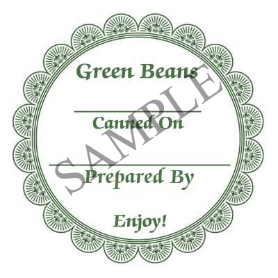 Green Beans Round Canning Label #L341