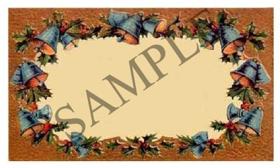 Christmas Bells w/Border Blank Rectangle Canning Label #RB127