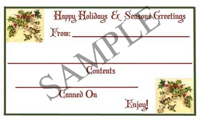 Happy Holidays & Seasons Greetings Rectangle Canning Label #RCT126