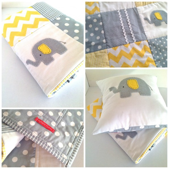 alphabet monkey elephant quilt in yellow and gray