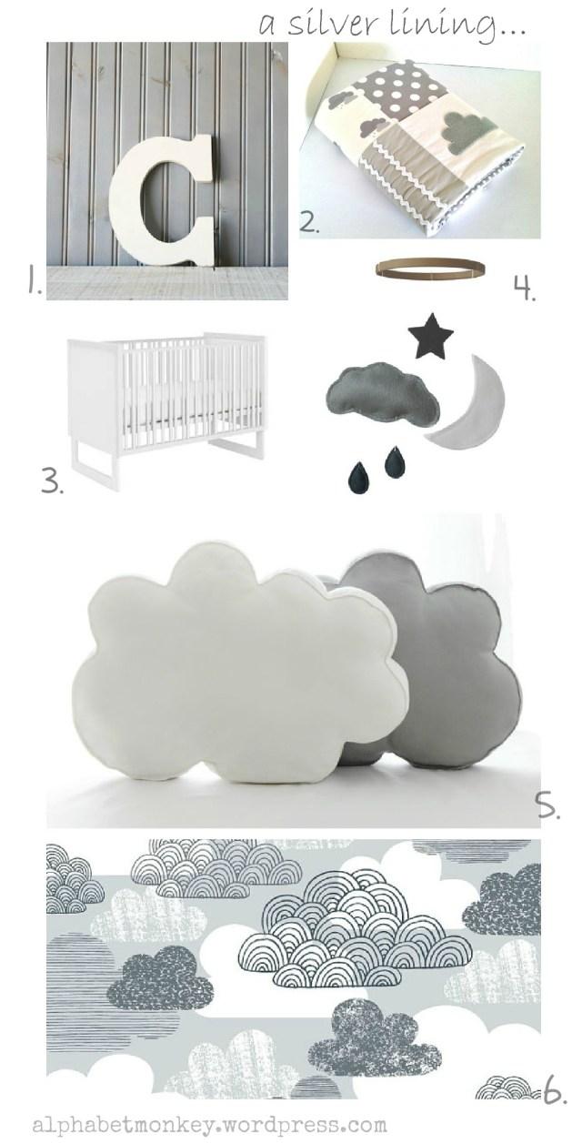 cloud nursery mood board by alphabet monkey