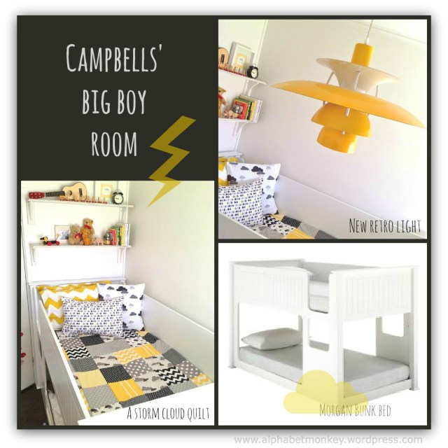 cloud boys room in black and yellow