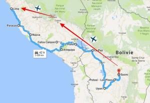 Travel itinerary in Peru