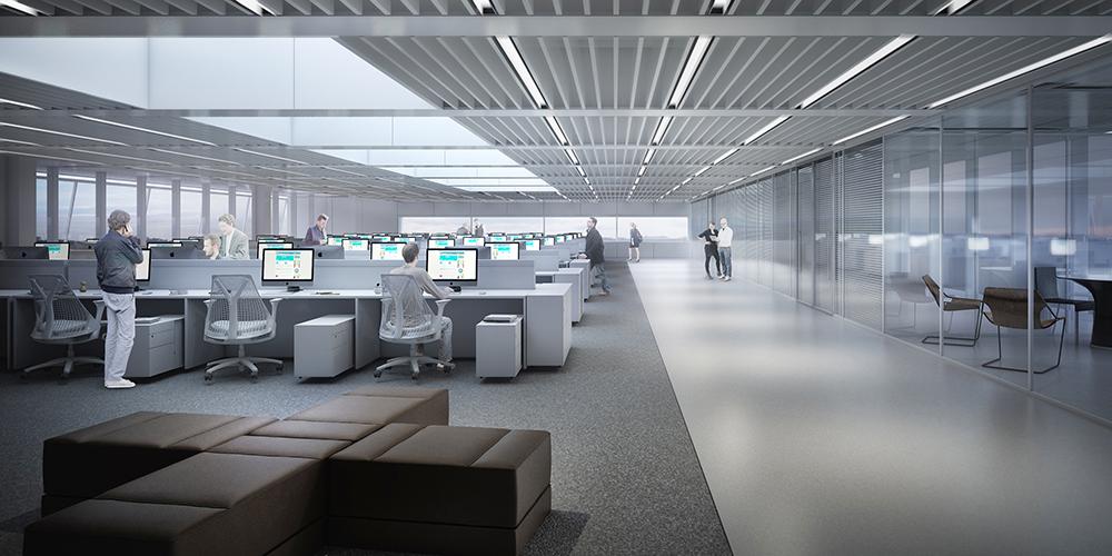 CAU/BR: a concentração das áreas de trabalho em um pavimento e piso elevado permitem máxima flexibilidade.