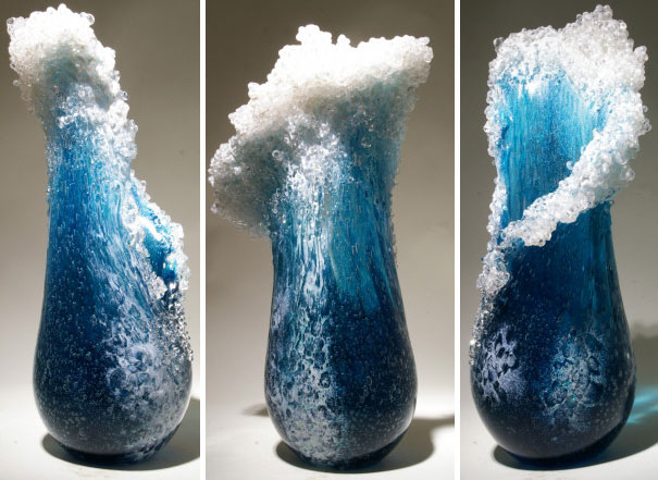 Majestic Ocean Wave Vases By Hawaiian Artist Duo
