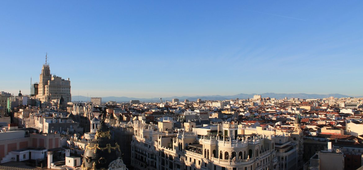 View from the top of Circulo de Bellas Artes in Madrid. Note: this is a 7 story building!