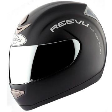 Fullface solid black helmet with rear vision