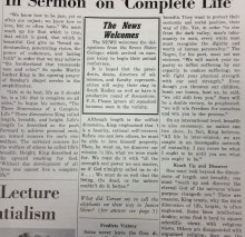 Article about Martin Luther King's sermon, part 1