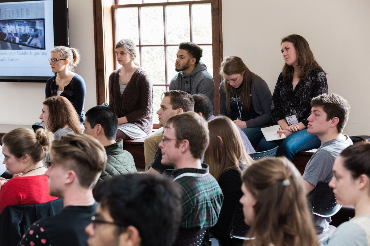 Students and alumni packed the Freedom Forum to hear Sharif Durhams speak. Photo by Erik Perel