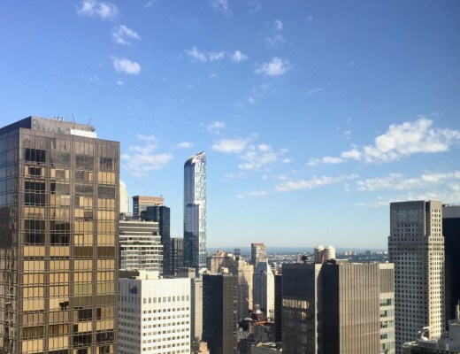 Skyline view NYC from above