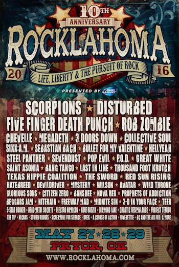 Rocklahoma 2016 flyer with band lineup and venue details