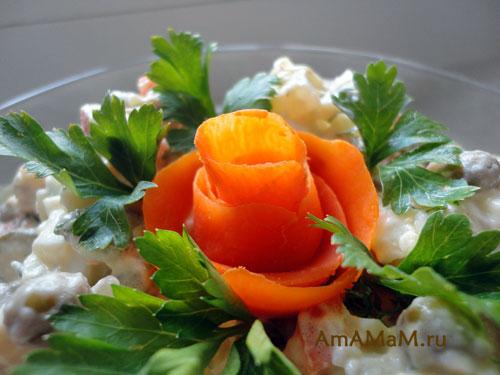 Розочки из овощей для украшения праздничного стола - фото