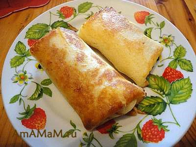 Очень вкусные блинчики на молоке с начинкой из ливерной колбасы и лука