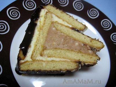 Кусочек очень вкусного творожного торта из печенья (без выпечки) _ Творожный домик!