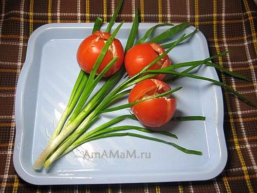 Оригинальный и простой салат в виде букета тюльпанов - МК
