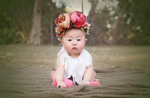 baby photogrpahy, huntington beach park, flower crown, orange county photographer, amanda skye photography, ,