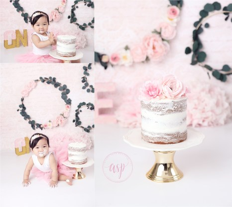 orange county cake smash, cake smash, girl cake smash, amanda skye photography, pink and gold cake smash