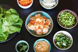 shrimp lettuce wraps, lettuce wraps, shrimp with peanut sauce