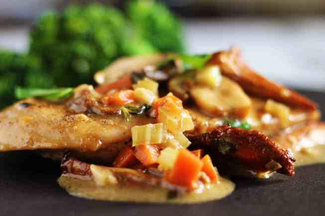 chicken in mushroom gravy, chicken in gravy, chicken dinner