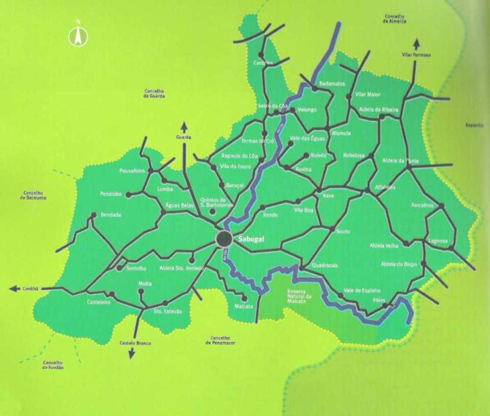 Mapa do distrito da Guarda