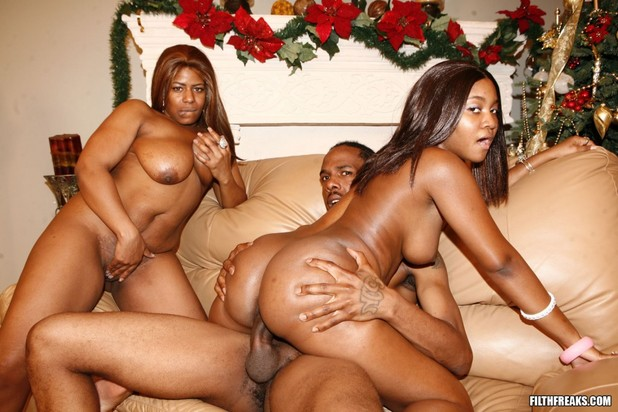 mother and daughter nude with black men