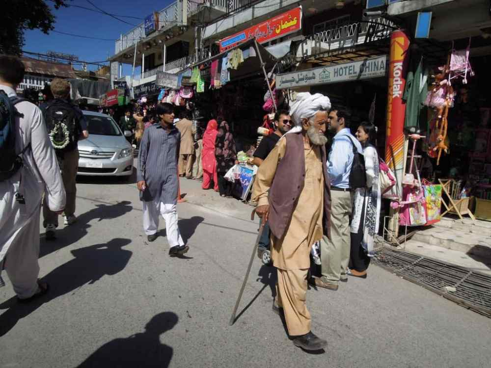 Locals and tourists wander the street and shopping stalls in Murree Pakistan