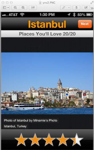 "Istanbul is shown as a ""play you'd love to visit"" based on the Your Next Vacation app"