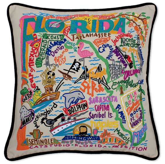 hand embroidered state pillows - custom pillow ideas