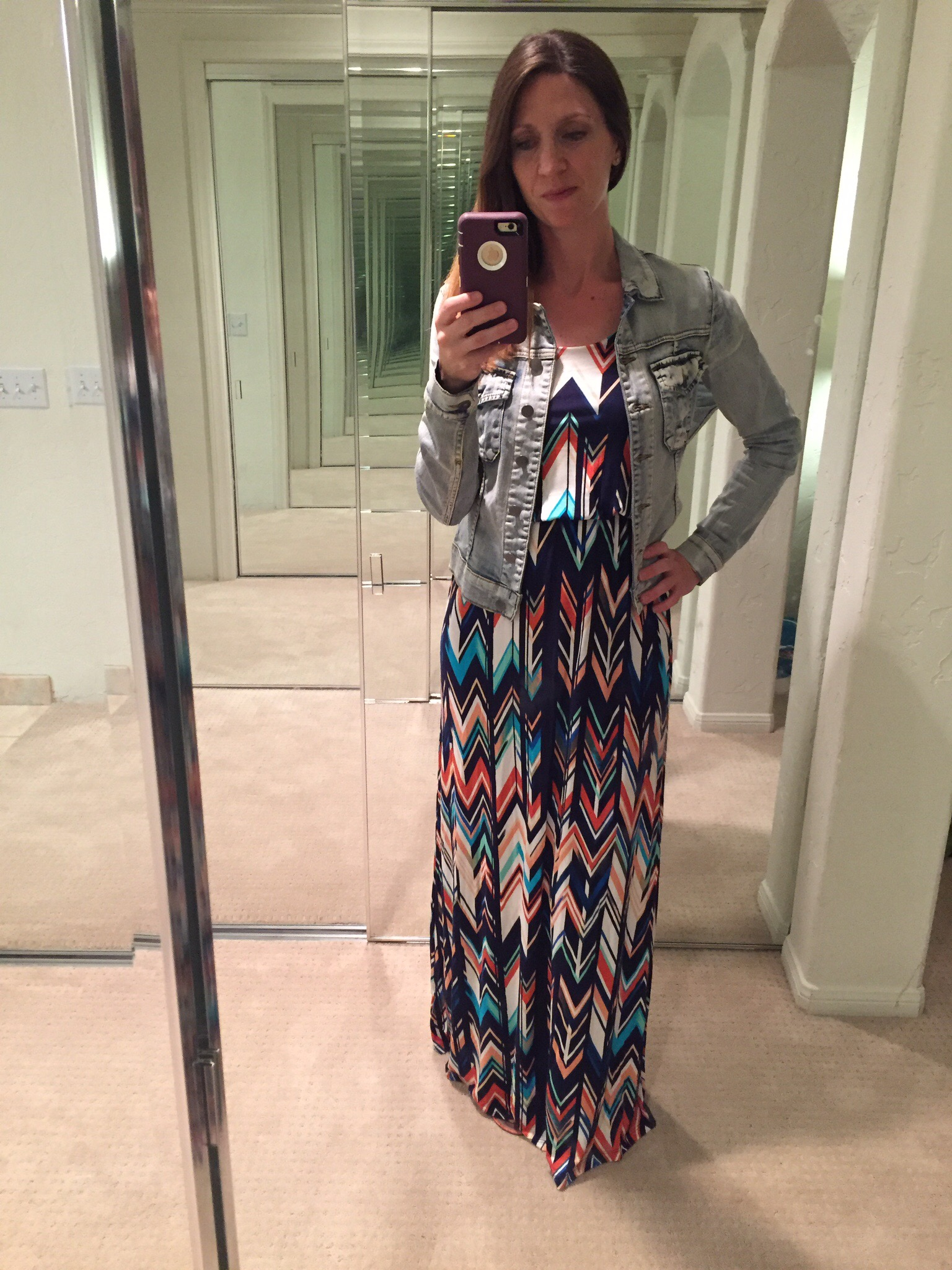 Stitch Fix April 2016 maxi dress denim jacket