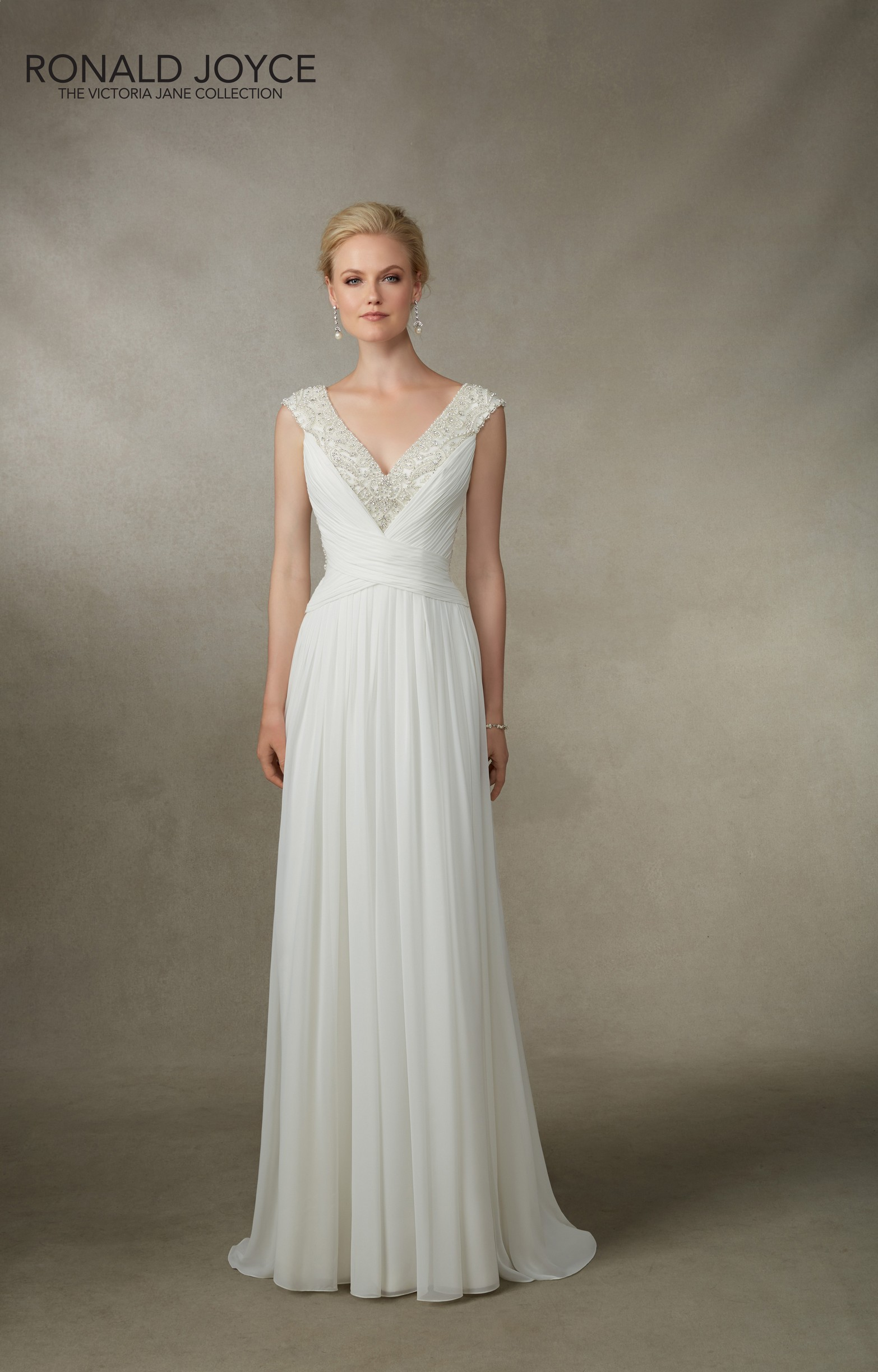 victoria jane grecian style wedding dresses Jamesina A GRECIAN STYLE DRESS WITH RUCHED CHIFFON EXQUISITE BEADED NECKLINE AND ILLUSION BACK