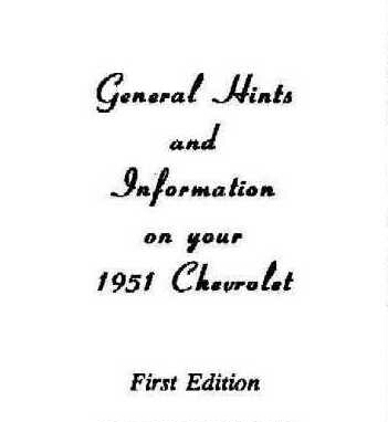 51 chevy owners manual