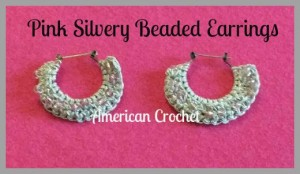 Pink Silvery Beaded Earrings