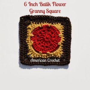 Six Inch Batik Flower Granny Square