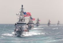 IRGC Commander: U.S. Has No Business Patrolling the Persian Gulf 150317-N-SF508-627 U.S. 5TH FLEET AREA OF RESPONSIBILITY (March 17, 2014) The Cyclone-class coastal patrol ship USS Hurricane (PC 3) leads other coastal patrol ships assigned to Patrol Coastal Squadron 1 (PCRON 1) in formation during a divisional tactics exercise. PCRON-1 is deployed supporting maritime security operations and theater security cooperation efforts in the U.S. 5th Fleet area of responsibility. (U.S. Navy photo by Mass Communication Specialist 2nd Class Charles Oki/Released)