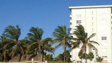 View of Amethyst Condo from beach along shoreline depicting palm trees tiki hut poolside and unobstructed southern building